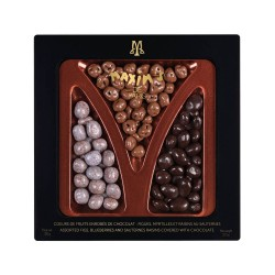 Tin of assorted chocolate covered fruits