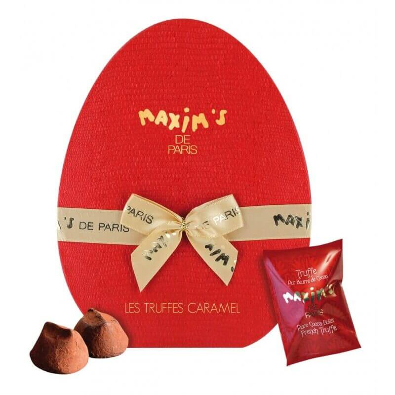 Hat-box 10 caramel French truffles, pure cocoa butter - chocolate - maxims shop
