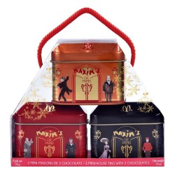 Small house-roof tin 2 chocolates - Christmas design