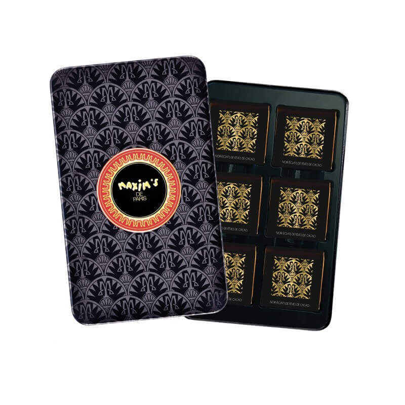 Black pencil tin dark chocolate squares-Chocolate-Maxim's shop