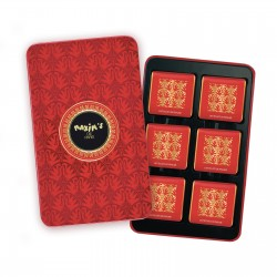 Red pencil tin milk chocolate praline squares