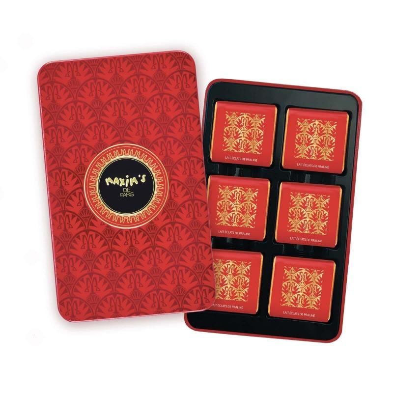 Red pencil tin milk chocolate squares - Chocolate - Maxim's shop
