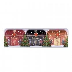 Etui 3 mini maisons 2 chocolats décor Noël 2019