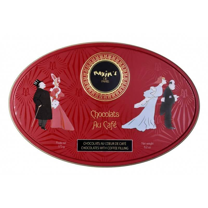 Red oval tin coffee chocolate candies - Chocolate - Maxim's shop