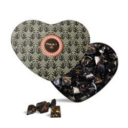 Black heart Tin - Dark choc. almonds & honey
