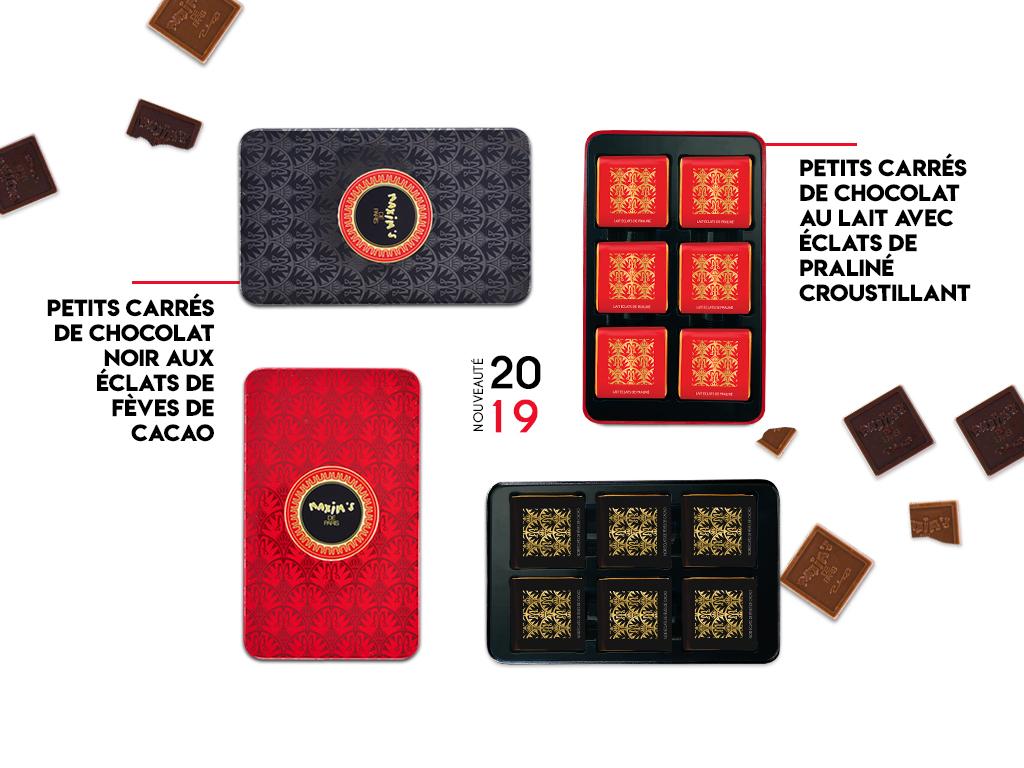Plumier de petits carrés de chocolats - Maxim's de Paris